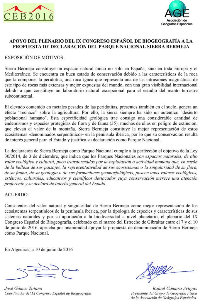 Apoyo del IX Congreso Español de Biogeografía a Sierra Bermeja Parque Nacional