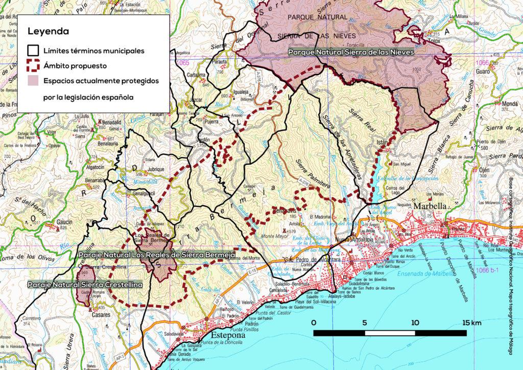 Espacios Naturales Protegidos por la Junta de Andalucía en el entorno de Sierra Bermeja