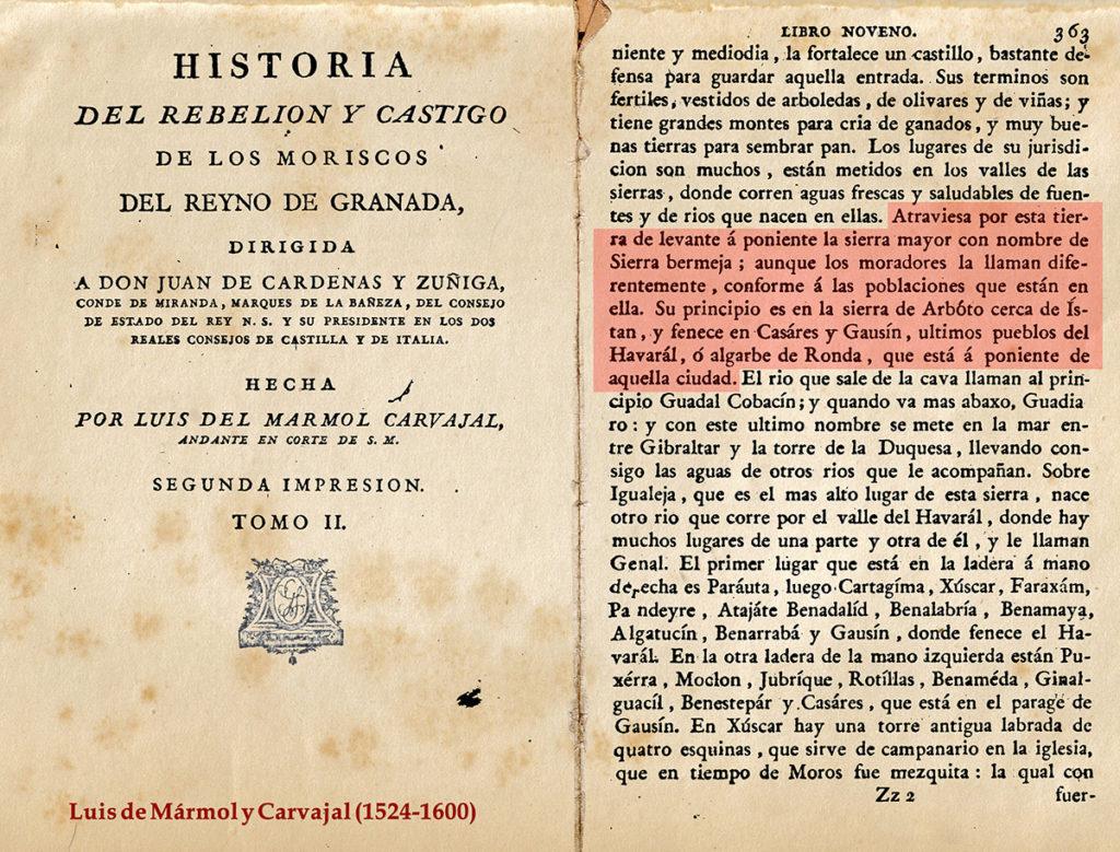 Ámbito de Sierra Bermeja definido documentalmente desde el siglo XVI