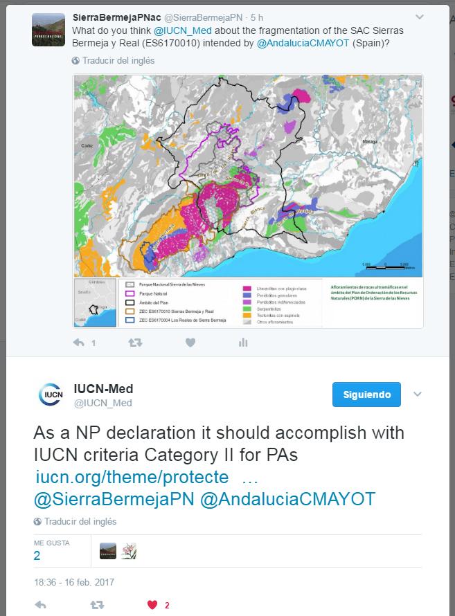 Respuesta UICN a la fragmentación de la ZEC Sierras Bermeja y Real