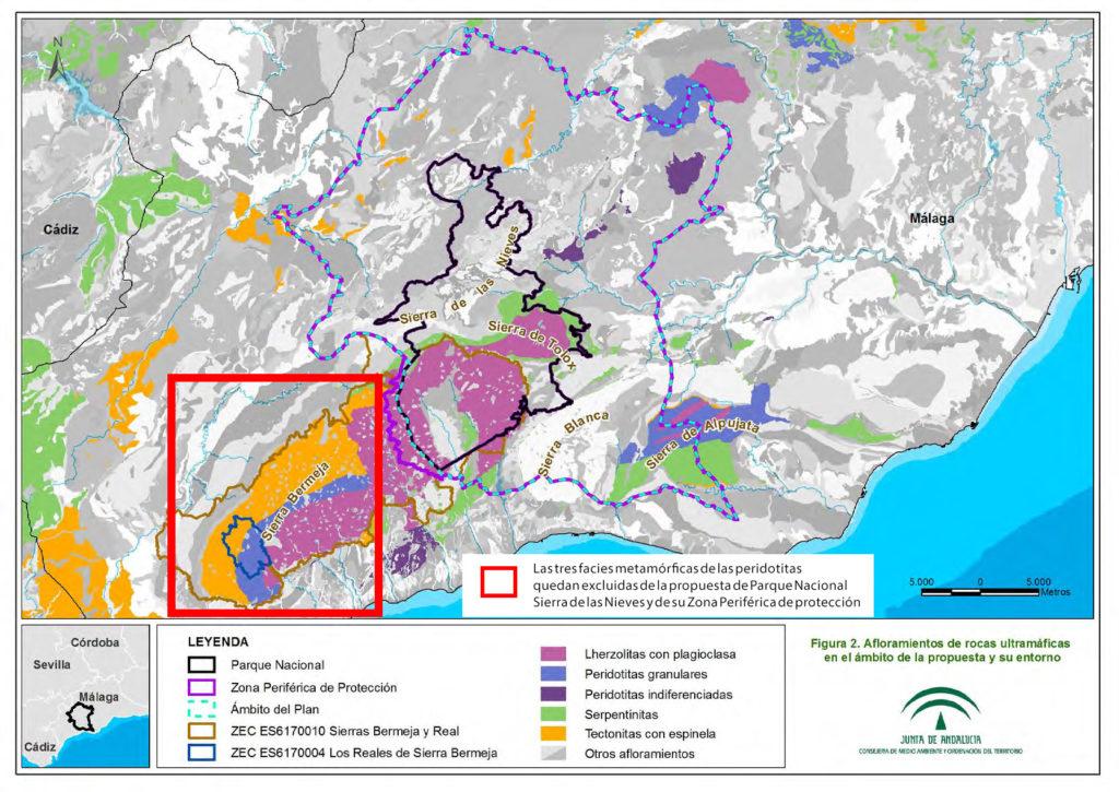 Afloramientos ultramáficos en el Parque Nacional Sierra de las Nieves
