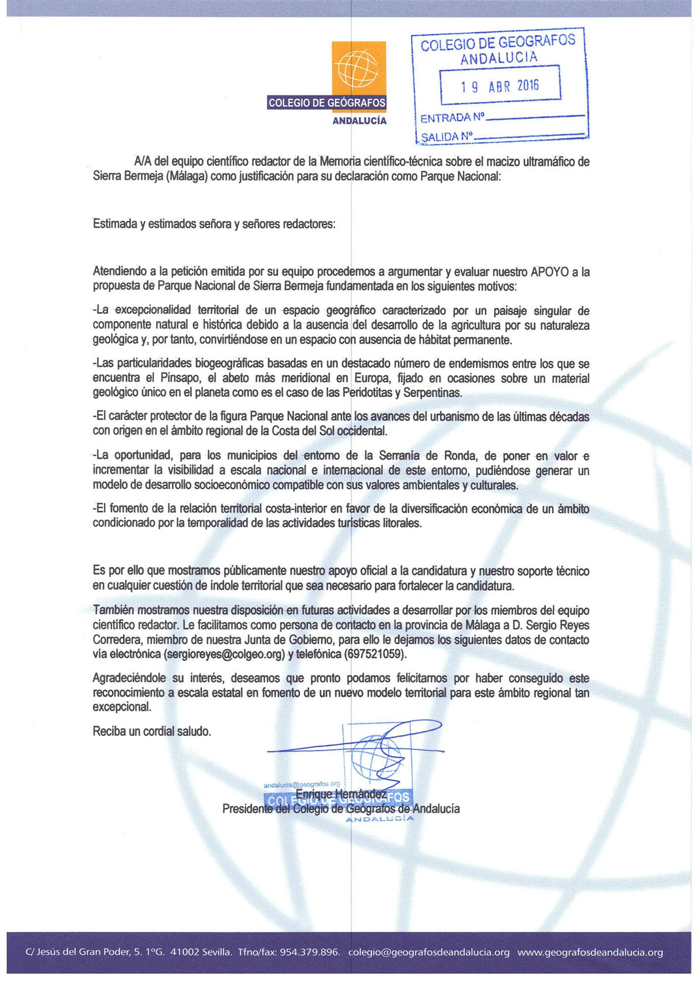 El Colegio de Geógrafos de Andalucía apoya la declaración de Sierra Bermeja como Parque Nacional
