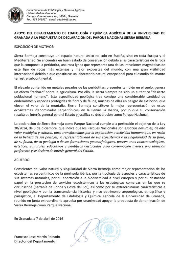 El Depto de Edafología de la UGR apoya la declaración de Sierra Bermeja como Parque Nacional