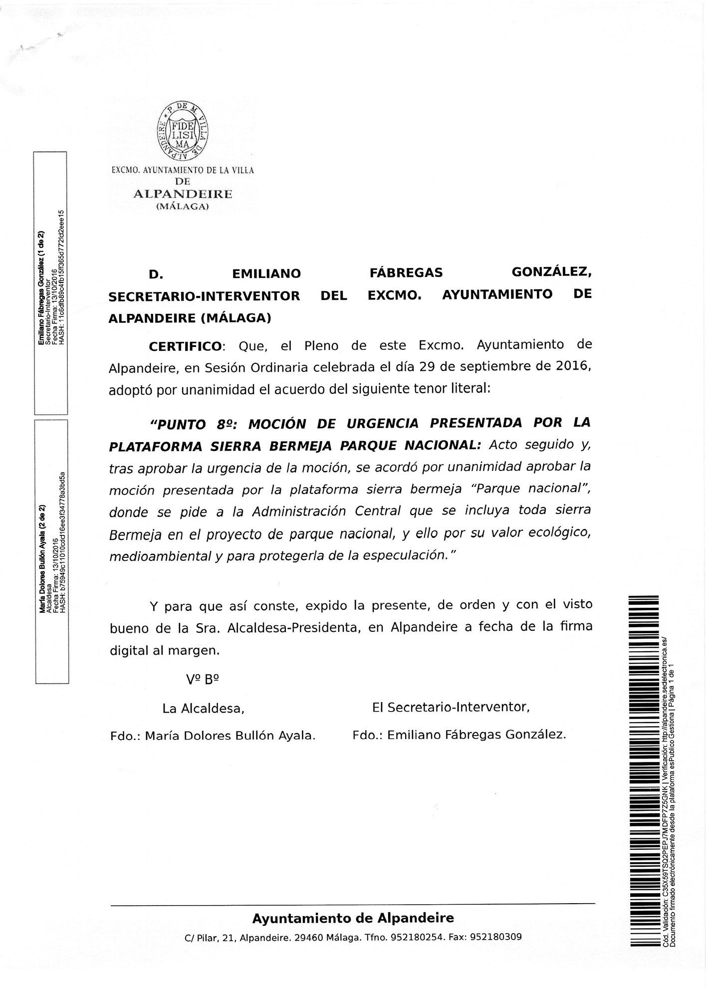 El Ayto de Alpandeire apoya la declaración de Sierra Bermeja como Parque Nacional