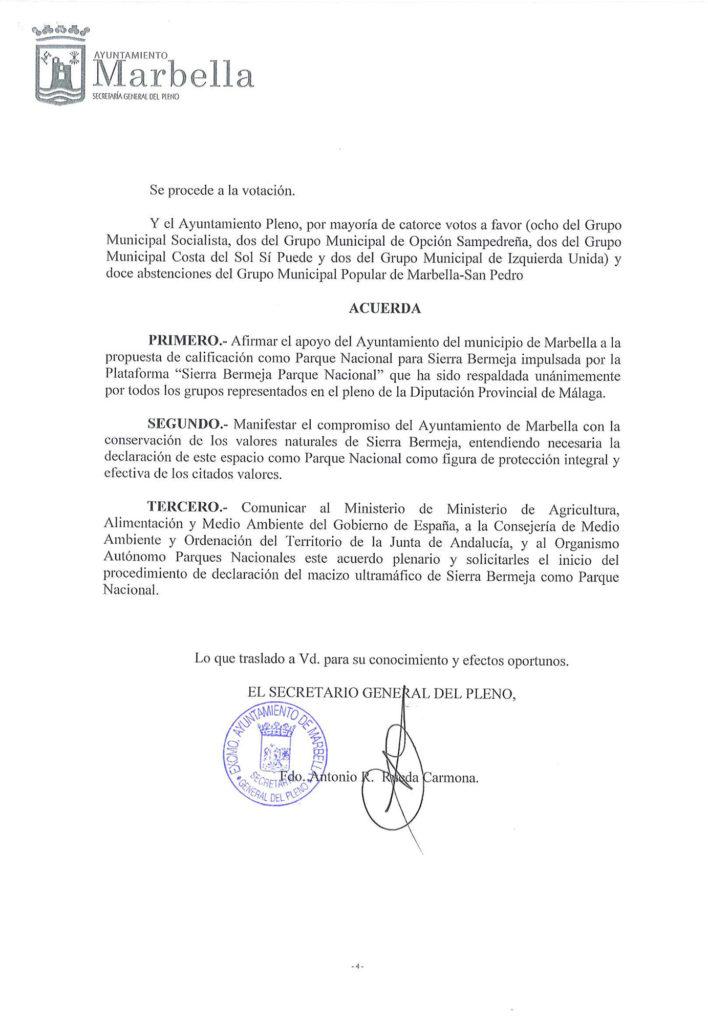 Marbella apoya la declaración de Sierra Bermeja como Parque Nacional