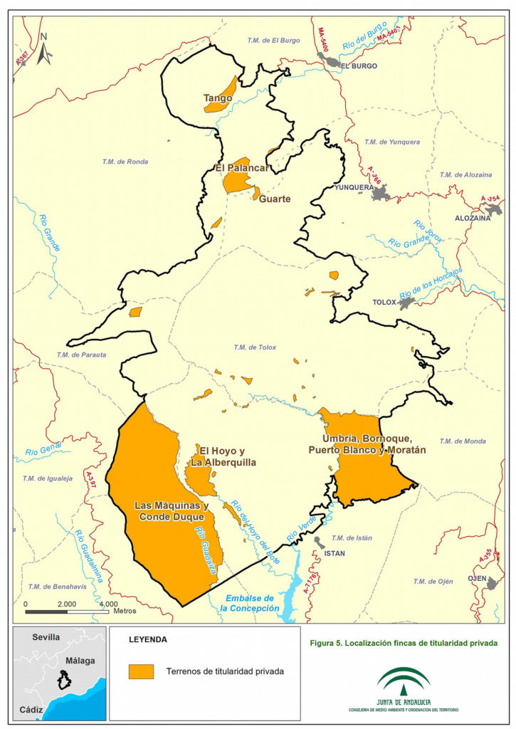 Terrenos de titularidad privada en el PN Sierra de las Nieves
