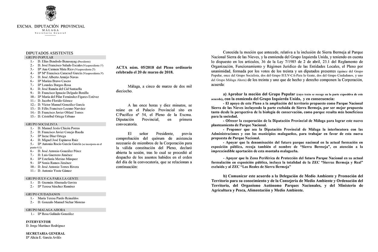 Acta del Pleno de la Diputación de Málaga, de fecha 20/3/2018