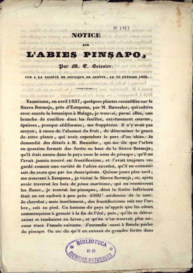 Descripción de Boissier, 1838