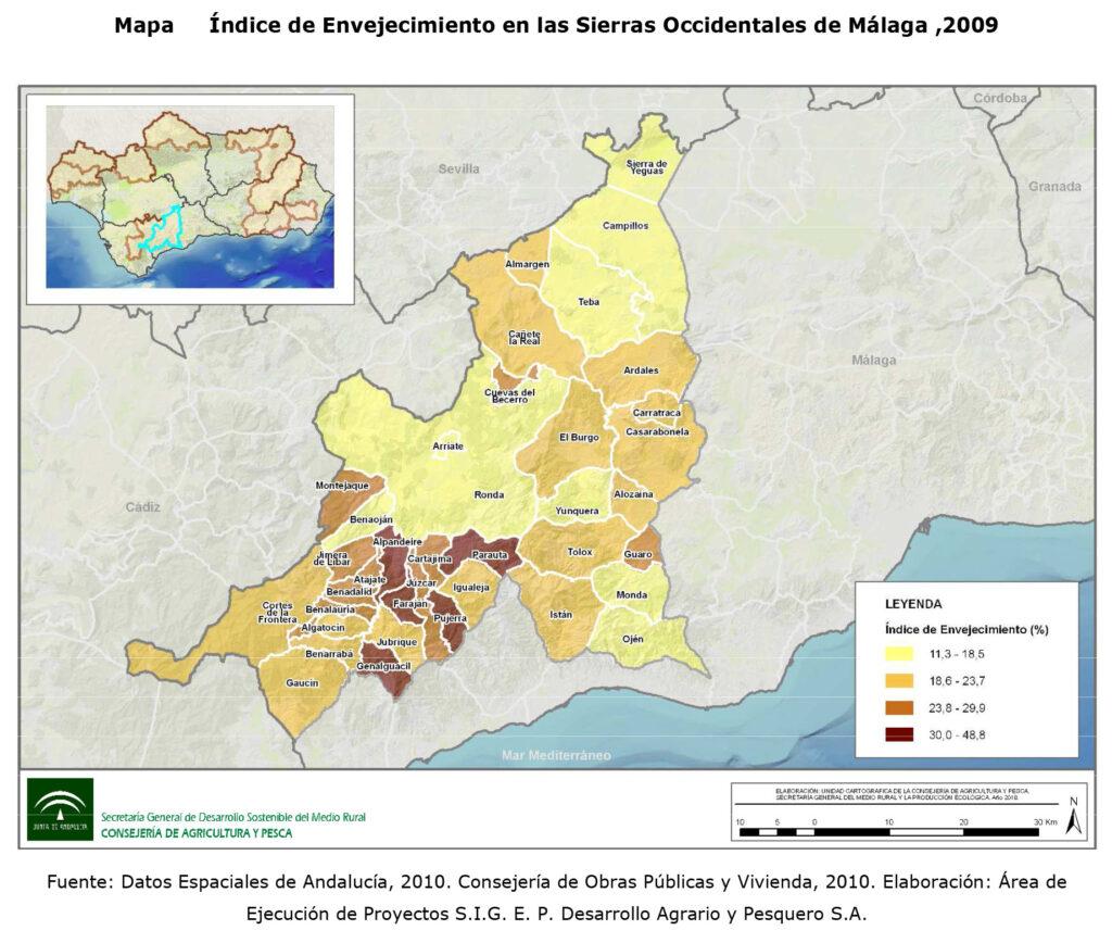 Índice de envejecimiento ZRR Sierras Occidentales de Málaga