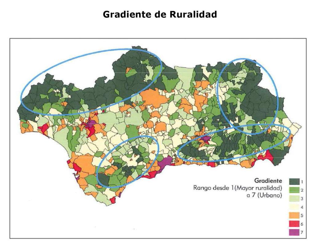Gradiente de ruralidad de Andalucía