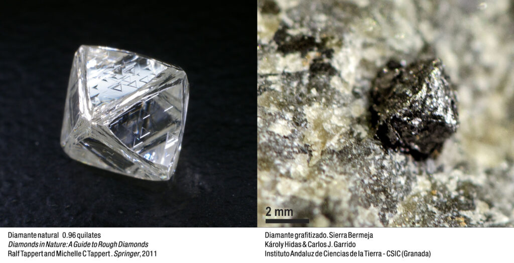 Diamantes grafitizados procedentes de la parte occidental de Sierra Bermeja