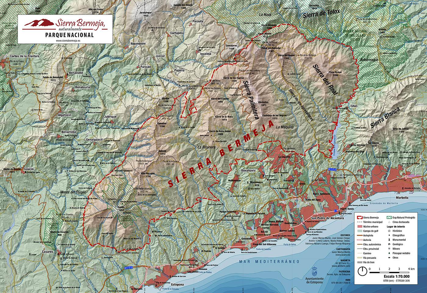 Mapa relieve de Sierra Bermeja (Planimetría)