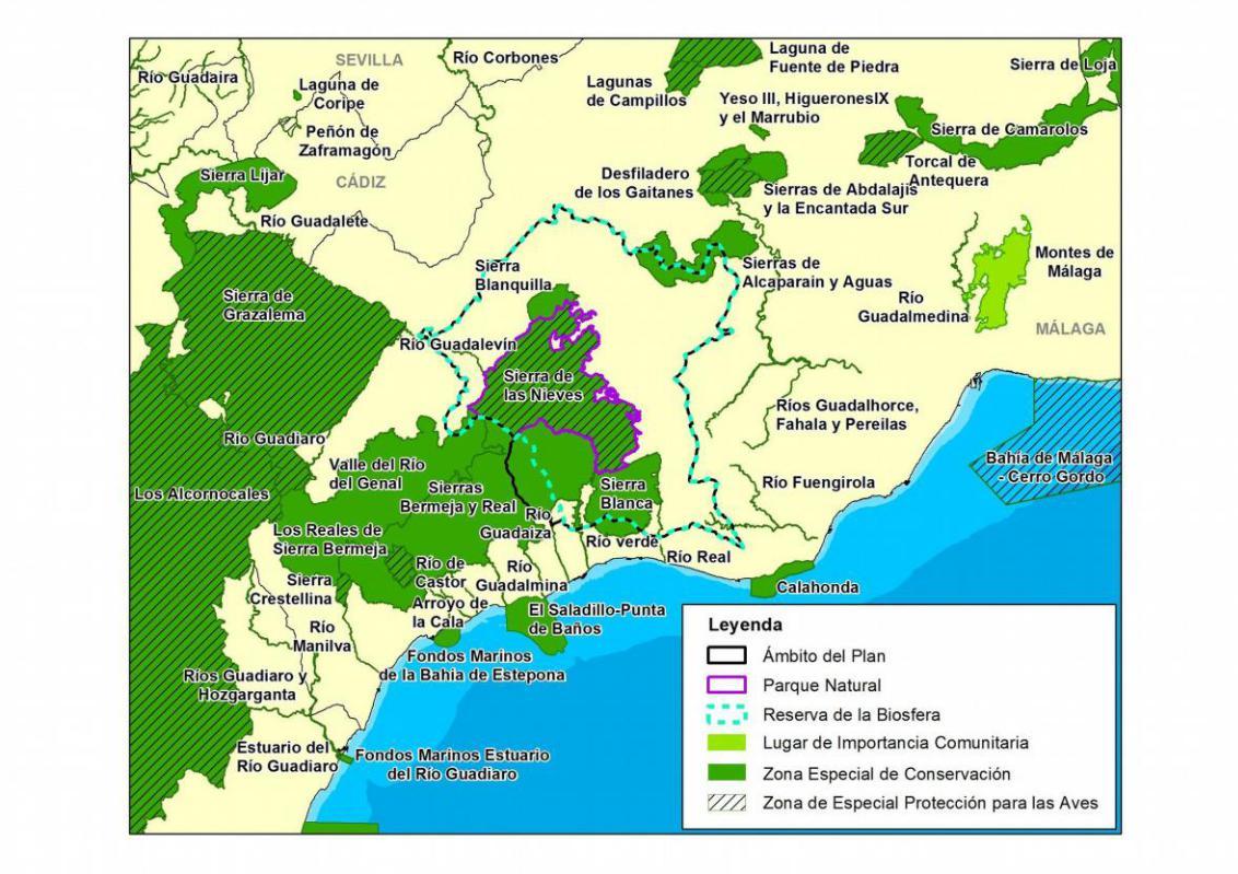 Solapamiento de planes de gestión Parque Nacional Sierra de las Nieves